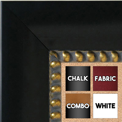 BB5203-1 Black With Gold Beads Medium To Extra Large Custom Cork Chalk Or Dry Erase Board