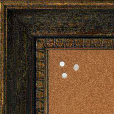 BB5206-1 Aged Distressed Brown With Antique Gold Trim Medium To Extra Large Custom Cork Chalk Or Dry Erase Board