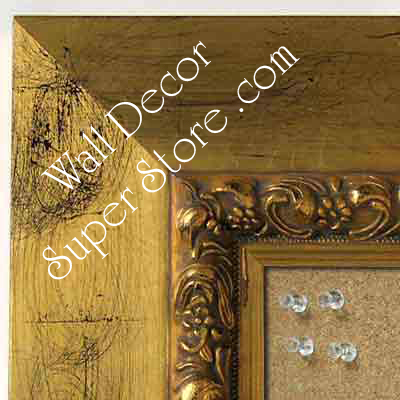 BB5234-1 Distressed Gold Leaf With Black Accents Custom Cork Chalk or Dry Erase Board Medium To Extra Large