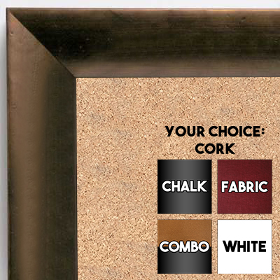 BB6226-3 Distressed Bronze With Slope Custom Cork Chalk or Dry Erase Board Medium To Large