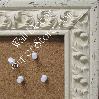 BB59-1 Ornate Distressed Off White Distressed Custom Cork Chalk or Dry Erase Board Medium To Extra Large