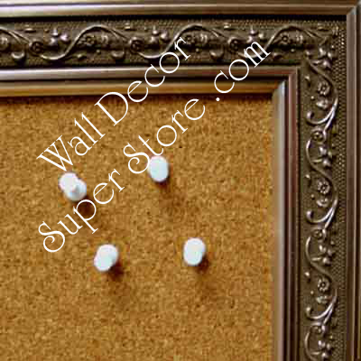 Not Currently Available  - Contact US- BB77-1 Distressed Pewter Silver Custom Cork Chalk or Dry Erase Board Medium To Large