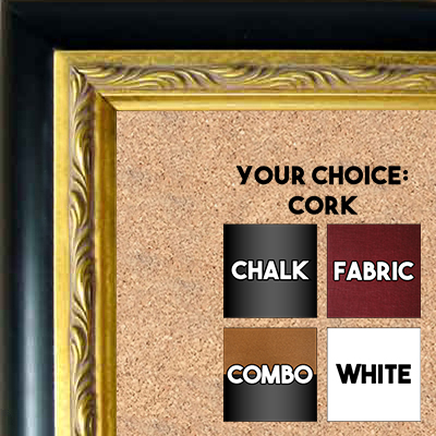 BB93-1 Black With Ornate Gold Insert Custom Cork Chalk or Dry Erase Board Medium To Extra Large