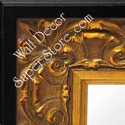 MR161-2 Ornate Gold Leaf With Black Trim - Extra Extra Large Custom Wall Mirror Custom Floor Mirror