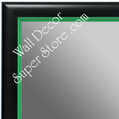 MR1400-2 Black With Green Lip - Small Custom Wall Mirror