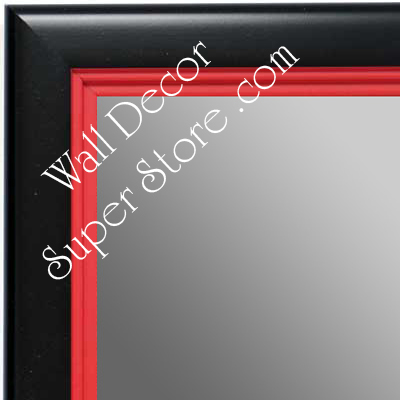 MR1401-3 Black With Red Lip - Medium Custom Wall Mirror Custom Floor Mirror