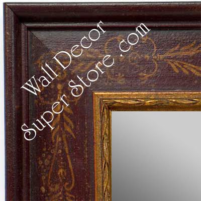 MR1422-1 Distressed Red With Stencil Design - Extra Large Custom Wall Mirror Custom Floor Mirror