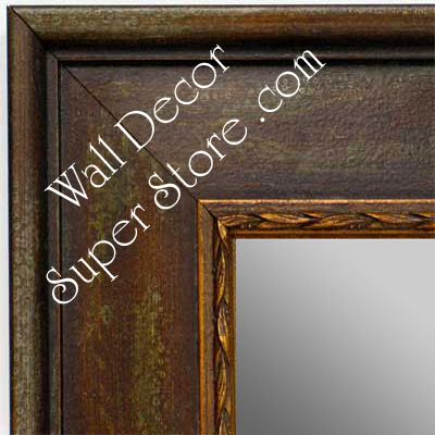 MR1422-2 Distressed Brown With Stencil Design - Extra Large Custom Wall Mirror Custom Floor Mirror