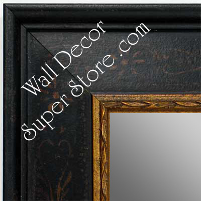 MR1422-3 Distressed Black With Stencil Design - Extra Large Custom Wall Mirror Custom Floor Mirror
