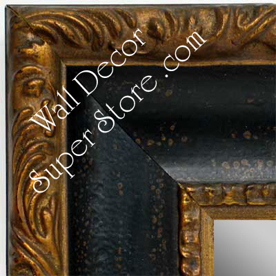 MR1424-3 Distressed Black Scoop With Gold - Extra Extra Large Custom Wall Mirror Custom Floor Mirror