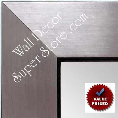 MR1431-4 Brushed Pewter With Black - Value Price - Extra Large Custom Wall Mirror Custom Floor Mirror