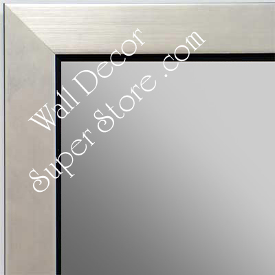 MR1495-2 Brushed Silver With Black - Small Custom Wall Mirror