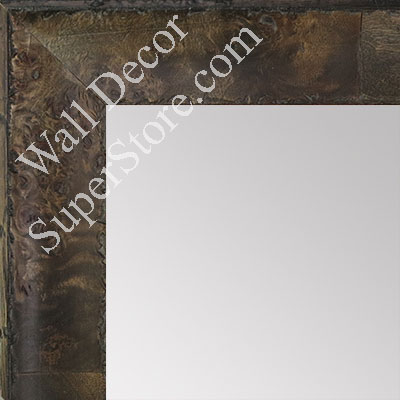 MR1530-5 Distressed Burlwood Brown Taupe Medium Custom Wall Mirror Custom Floor Mirror