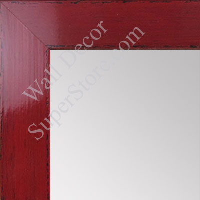MR1565-2 Glossy Distressed  Red - Medium Custom Wall Mirror -  Custom Bathroom Mirror