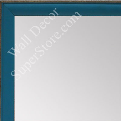 MR1569-9 Turquoise With Top Outside Distressed Accent  Very Small Custom Wall Mirror -  Custom Bathroom Mirror