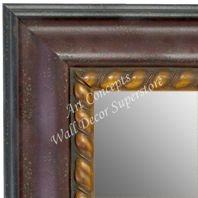 Mr1635 3 Distressed Cherry Mahogany With Gold Rope Trim