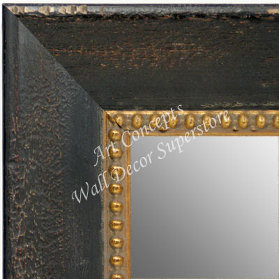 MR1644-1  Distressed Black with Gold | Custom Wall Mirror