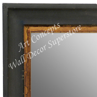 MR1706-1 | Distressed Black Scoop Moulding | Custom Wall Mirror | Decorative Framed Mirrors | Wall D�cor