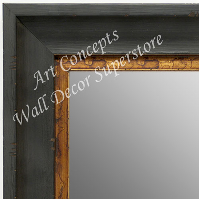 MR1707-1 | Distressed Black Scoop Moulding | Custom Wall Mirror | Decorative Framed Mirrors | Wall D�cor