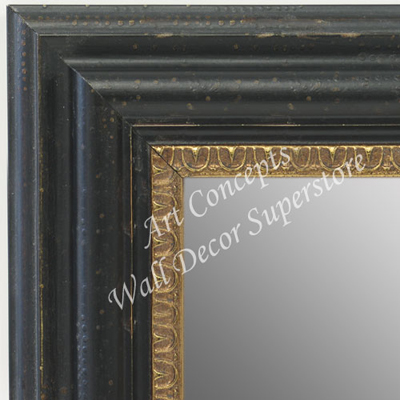 MR1730-1 | Distressed Black with Gold | Custom Wall Mirror | Decorative Framed Mirrors | Wall D�cor