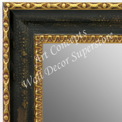 MR1733-1 | Distressed Black with Gold | Custom Wall Mirror | Decorative Framed Mirrors | Wall D�cor