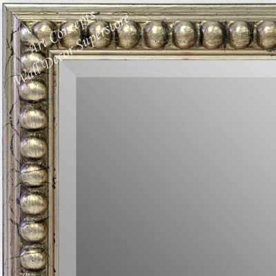 MR1747-1 | Distressed Silver Leaf Beads | Custom Wall Mirror | Decorative Framed Mirrors | Wall D�cor