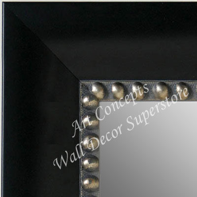 MR5203-2 Black With Silver Beads - Extra Large Custom Wall Mirror Custom Floor Mirror