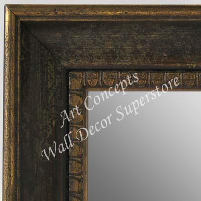MR5206-1 Aged Distressed Brown With Antique Gold Trim - Large Custom Wall Mirror Custom Floor Mirror