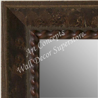 MR5208-1 Chestnut Brown Rope Design Distressed Scoop - Large Custom Wall Mirror Custom Floor Mirror