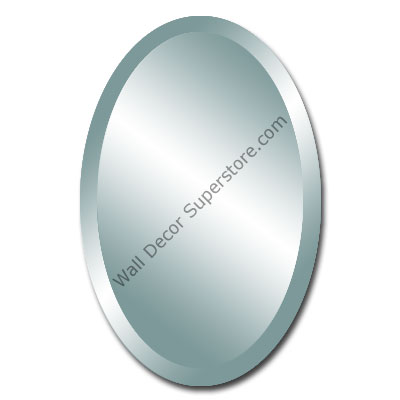 Custom Oval Beveled Frameless Wall Mirrors