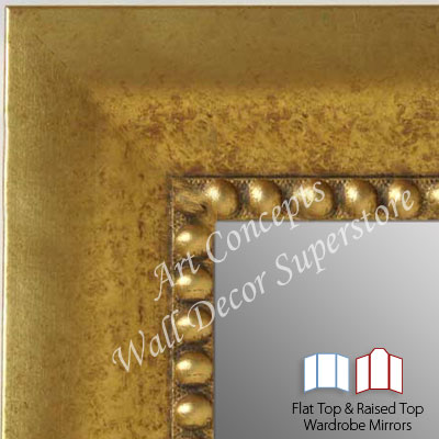 WM5203-3 Gold With Bead- 3 Panel Raised Top Winged Mirror  -  WMP8