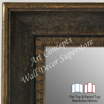 WM5206-1 Aged Brown- 3 Panel Raised Top Winged Mirror  -  WMP8