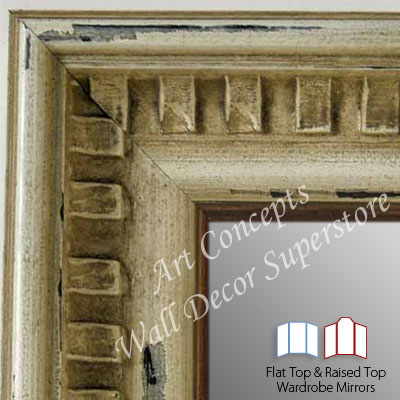 WM5207-1 Sandstone Piano- 3 Panel Raised Top Winged Mirror  -  WMP10