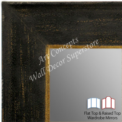 WM1615-1 | Distressed Dark Espresso with Gold Lip | Custom 3 Panel Wardrobe Mirror