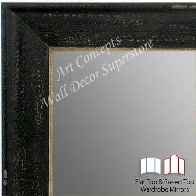 WM1616-2 | Distressed Dark Espresso with Silver Lip | Custom Three Panel Dressing Room Mirror