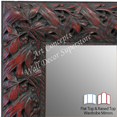 WM1624-3 | Black with Red / Design | Custom Three Panel Dressing Room Mirror