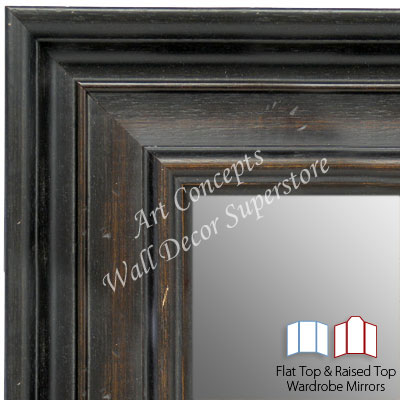 WM1639-1 | Distressed Black with Walnut | Custom Three Panel Full Length Wardrobe Mirror