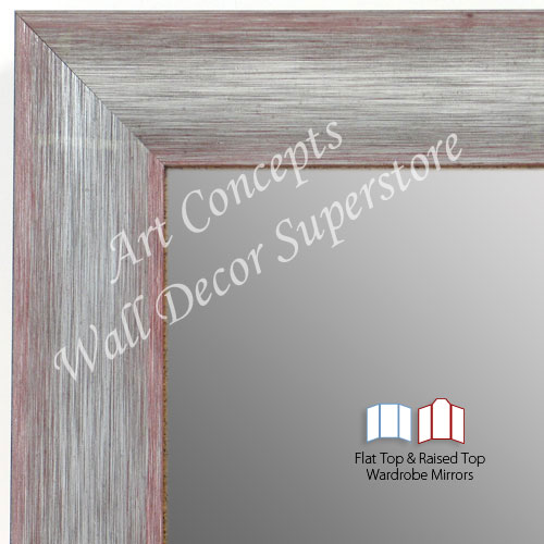 WM1687-3 | Brushed Silver with Red | Custom 3 Panel Wardrobe Mirror