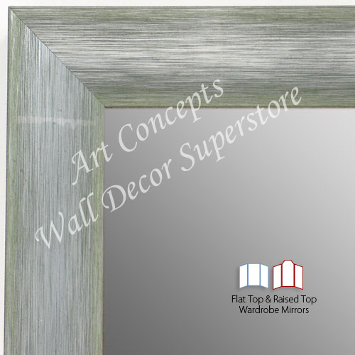 WM1687-5 | Brushed Silver with Green | Custom Three Panel Winged Mirror