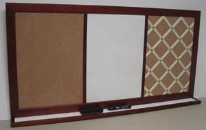 Custom Combination French Bulletin board combination cork dry erase and ribbon board